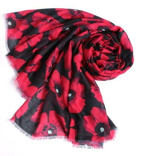 Ladies Scarf Poppy Black