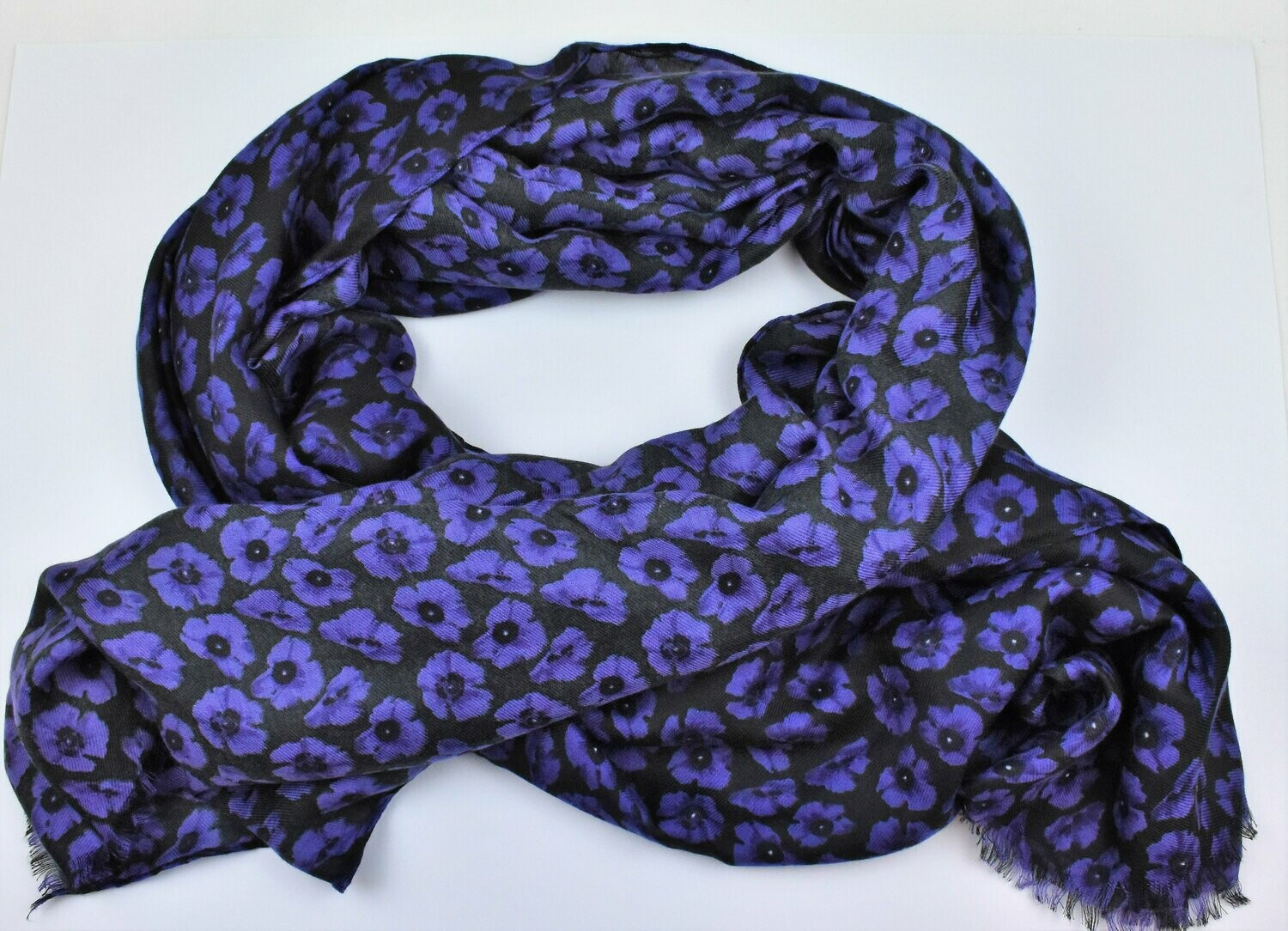 Ladies Scarf Small Poppies Purple