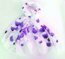Scarf Poppy Watercolour - White/Purple