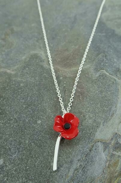 Red Single Poppy Pendant