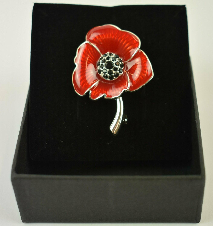 Poppy Brooch Red