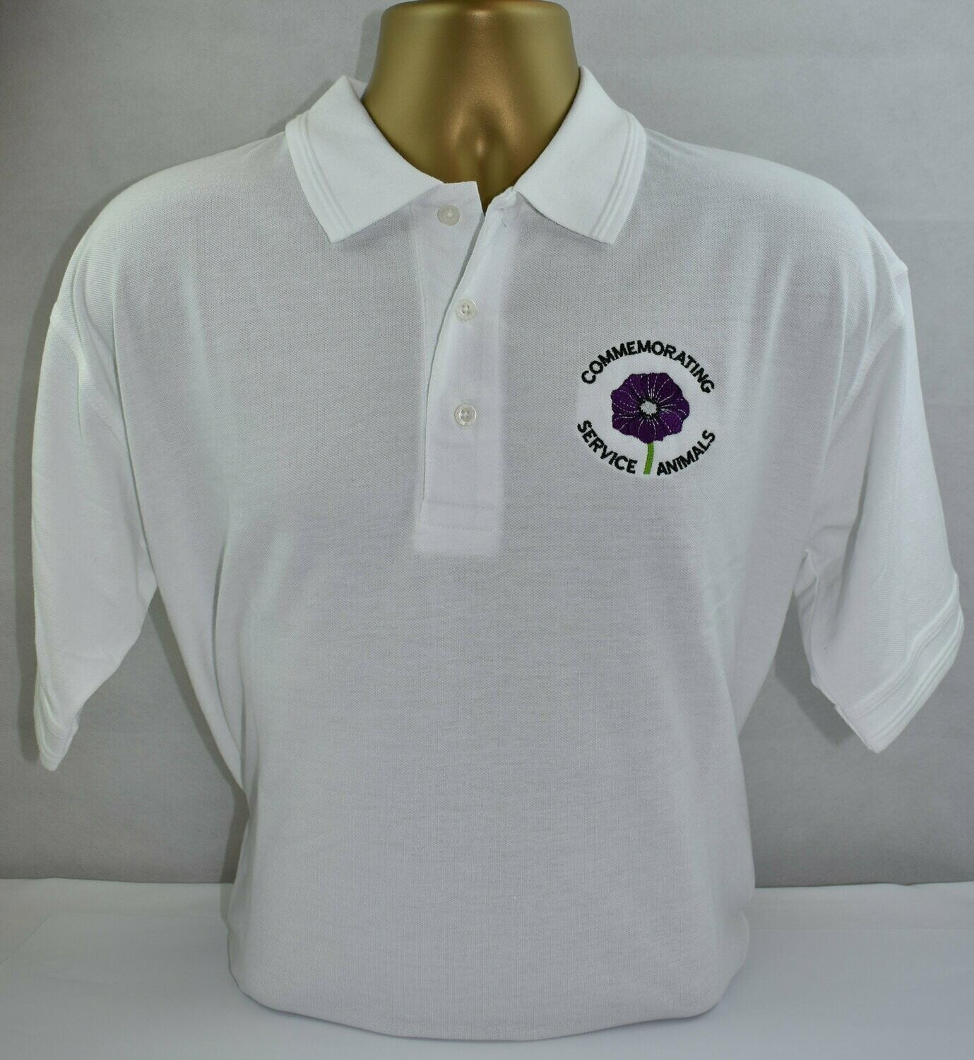 Polo Shirt - Purple Poppy  (White M)