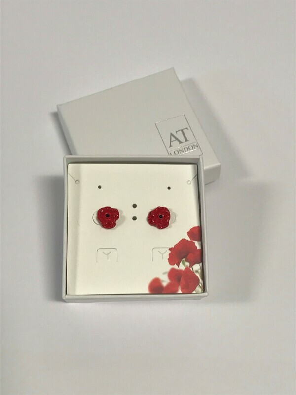 Red Ceramic Poppy Stud Earring