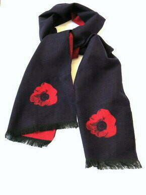 Winter Navy Poppy Scarf