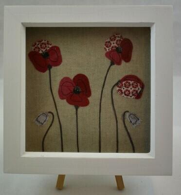 Framed Poppy Picture 18 cm - Red