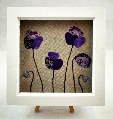 Framed Poppy Picture 18 cm - Purple
