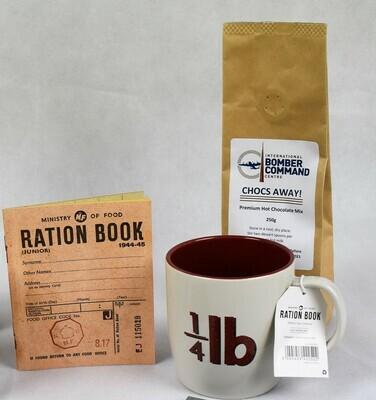 'Ration Book' Mug, 'Chocs Away' chocolate mix and Ration Book gift pack