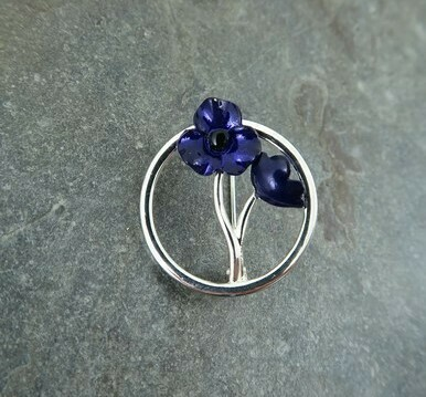 Purple Poppy Brooch Round