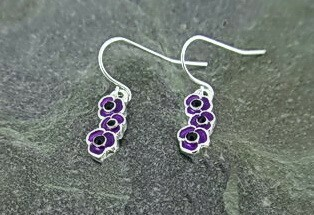 Purple Poppy triple drop earring