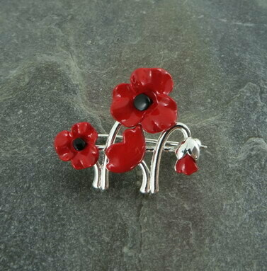 Red Poppy Garden Brooch