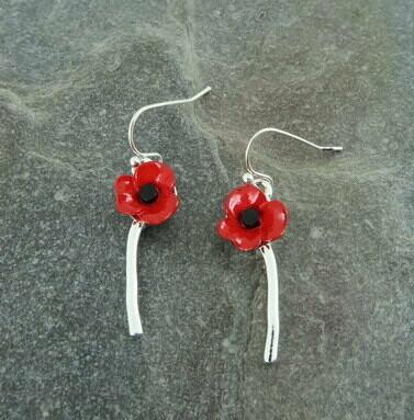 Red Single Poppy Earring