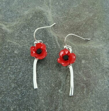 Red Single Poppy Earring
