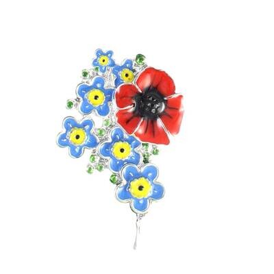 Forget  Me Not & Poppy Brooch