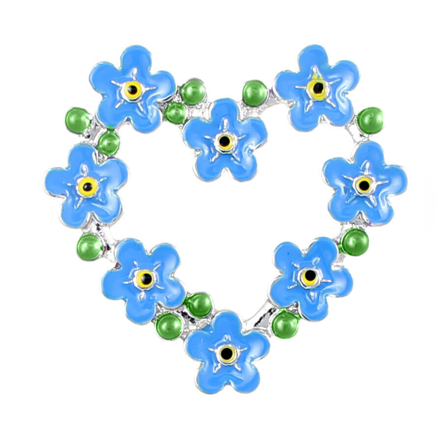 Forget Me Not Heart Brooch