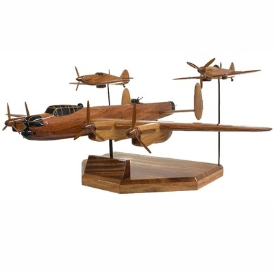 Wooden Aircraft Model - Avro Lancaster, Hawker Hurricane and Spitfire WW2 Triple Set