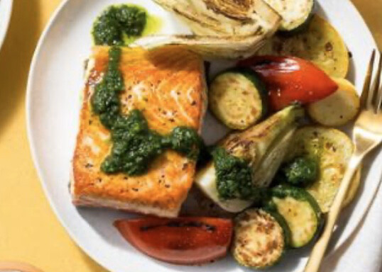 Grilled Salmon With Sauté Veg