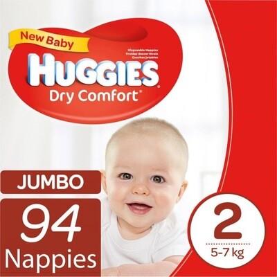 HUGGIES DRY COMFORT NEW BABY  SIZE 2 (94)