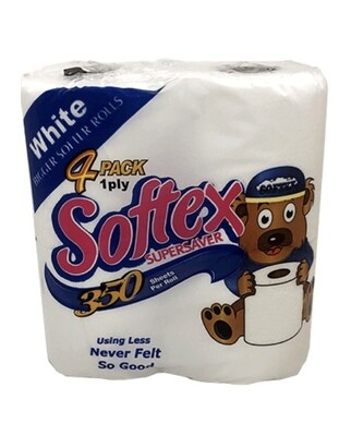 SOFTEX SUPERSERVER TISSUE 4Pack 1ply