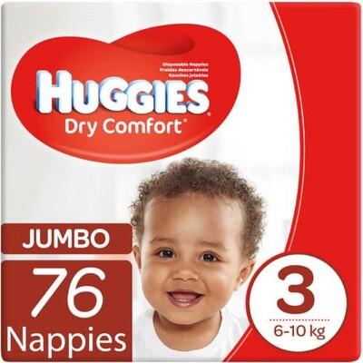 HUGGIES DRY COMFORT NEW BABY  SIZE 3 (76)