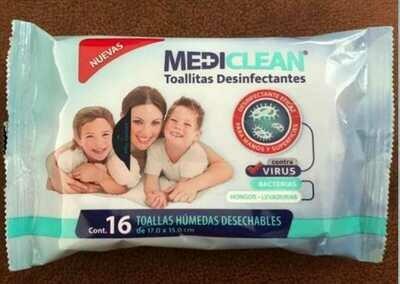 Toallita Desinfectante Paquete individual con 16 servicios
