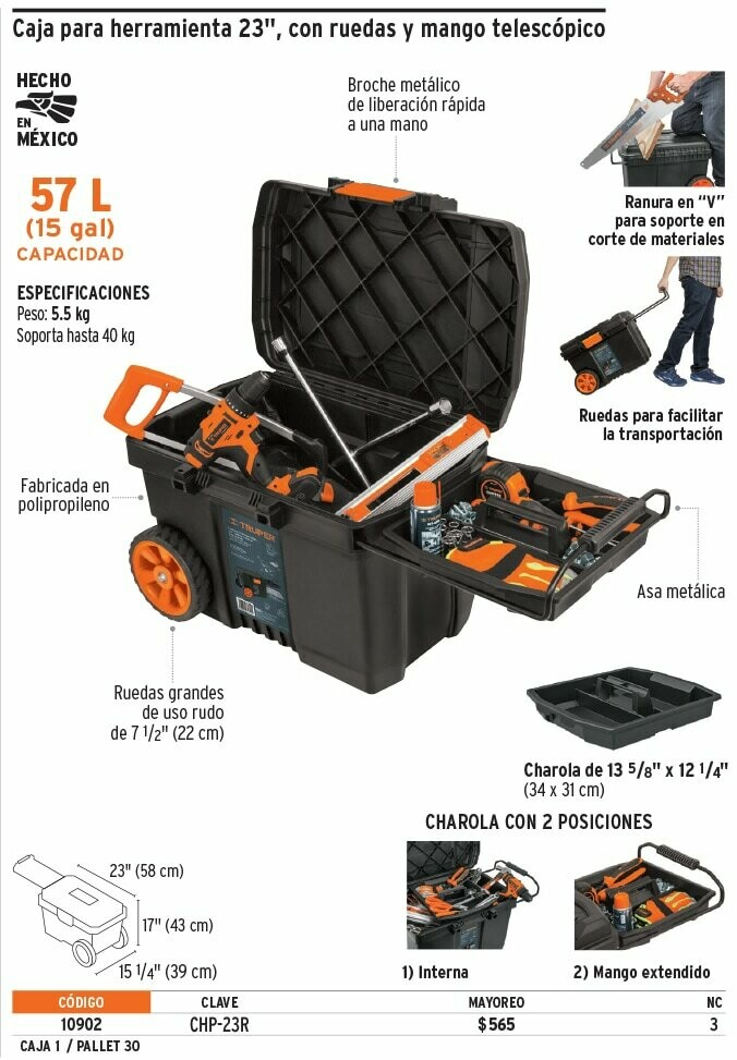 """Caja para herramienta 23"""", con ruedas y mango telescópico"""