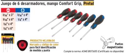Juego de 6 desarmadores, mango Comfort Grip
