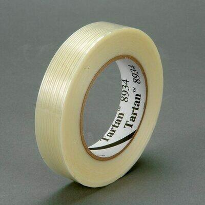Cinta Reforzada con Filamentos de Fibra de Vidrio 8934 de 3M, transparente, 12 mm x 55 m, 72 rollos por caja