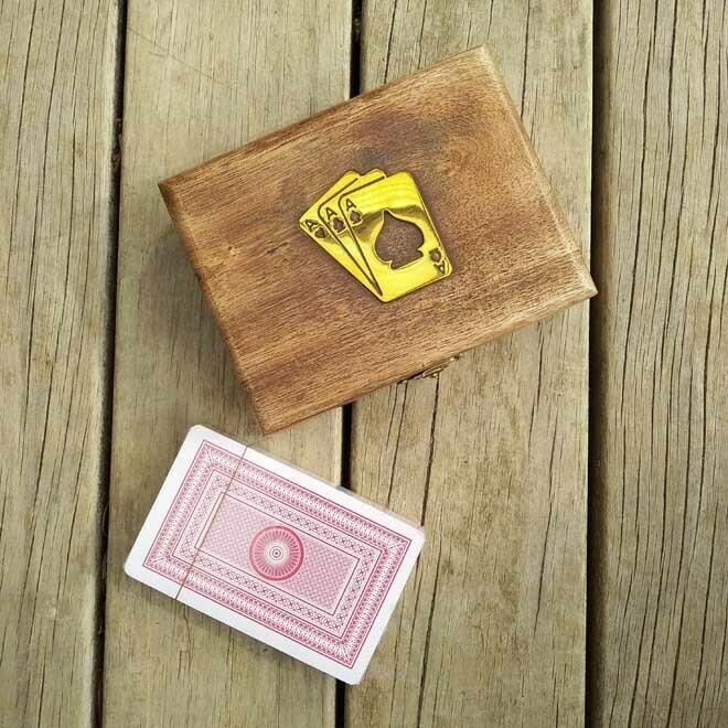 Playing Card Box - Natural Wood