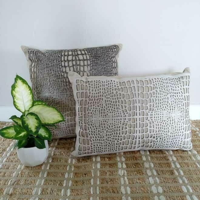 Laser Cut Hide Cushion - Sq