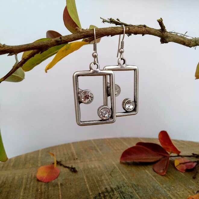 Frame Earrings - Crystal
