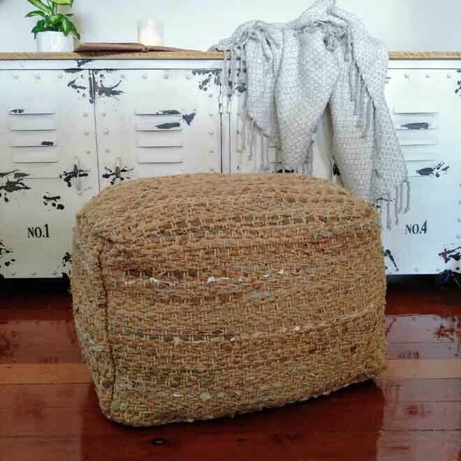 Natural Textile Pouff - Square
