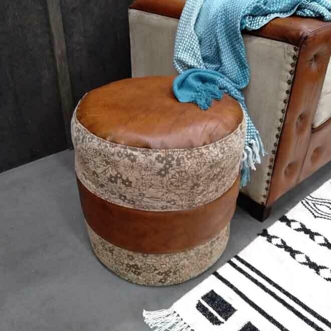 Canvas & Leather Pouff