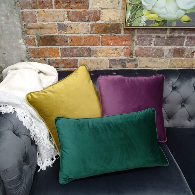 Velvet Cushion - Gold/Violet/Emerald
