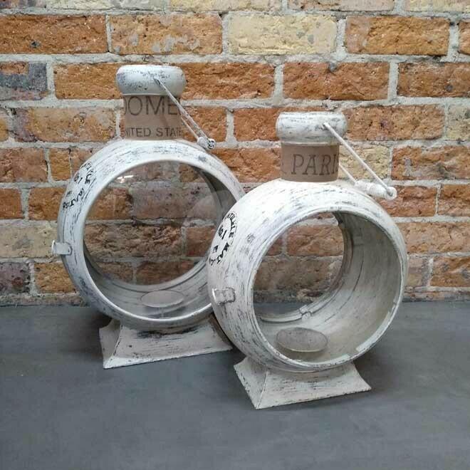 Iron Porthole Lantern - Antiqued White
