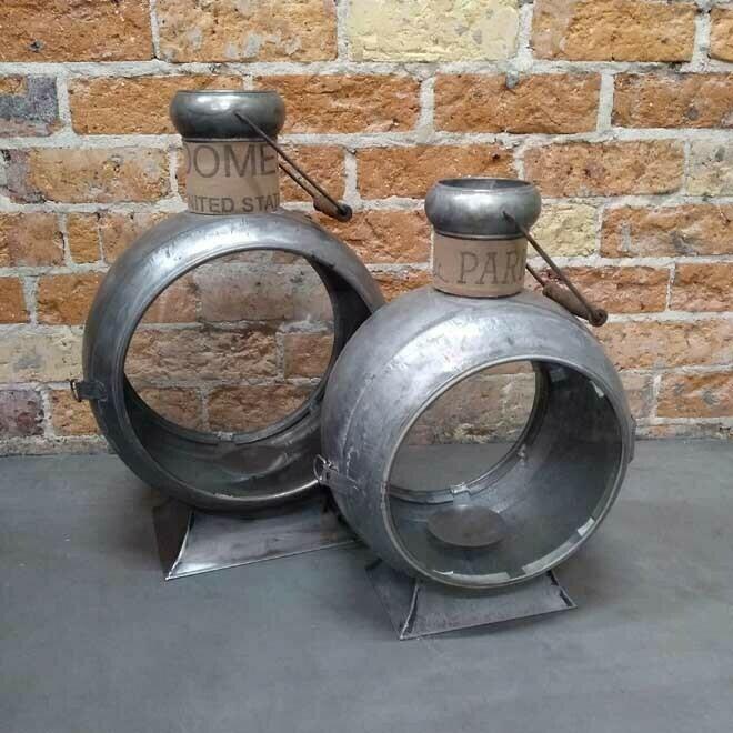 Iron Porthole Lantern - Antiqued Silver