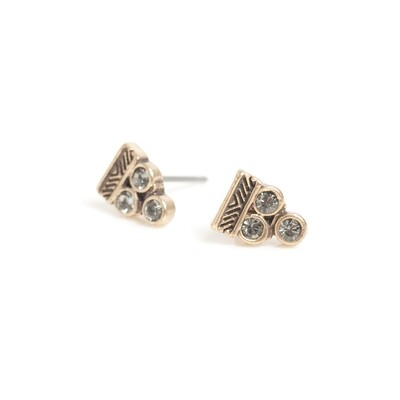 Triangle Crystal Earrings - Bronze