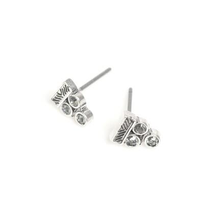 Triangle Crystal Earrings - Silver