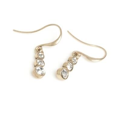Triple Crystal Earring - Bronze