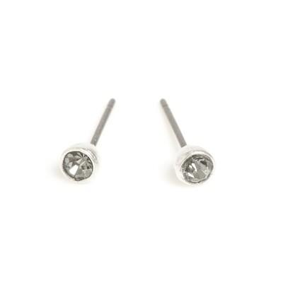 Small Dark Crystal Earring - Silver
