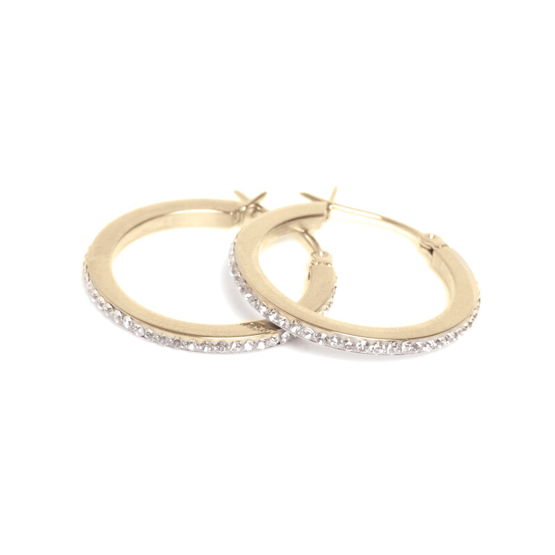 Small Crystal Hoops - Steel Gold