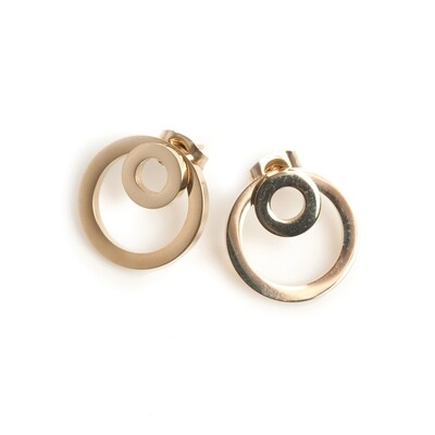 Double Circle Earrings - Steel Gold