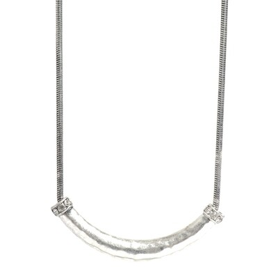Tribal Tube Necklace  Silver