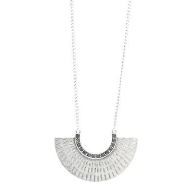 Tribal Half Circle Necklace - Silver