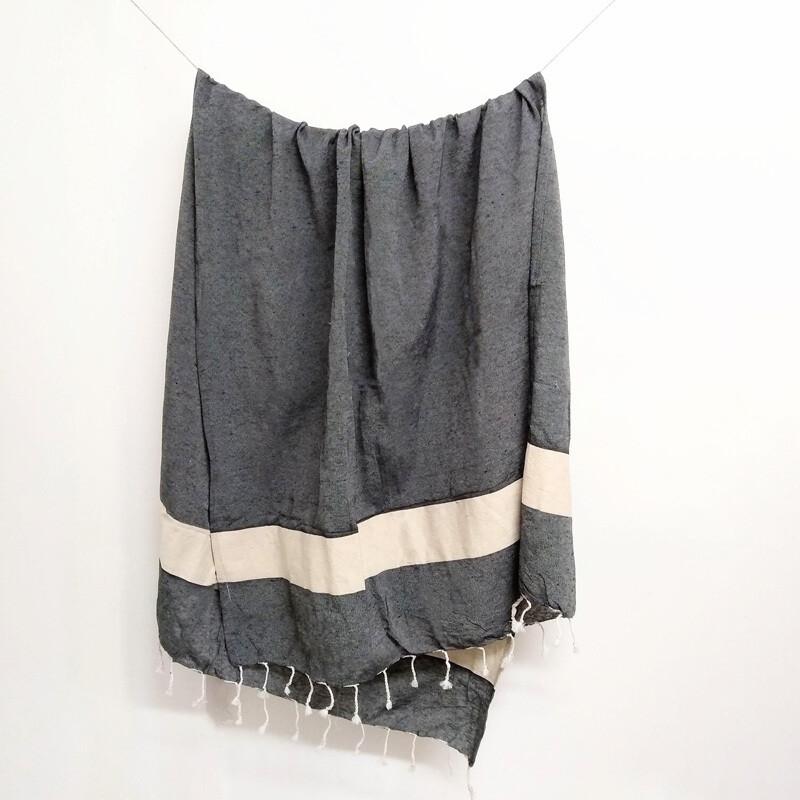 100% Cotton Towel - Charcoal Bold Stripe