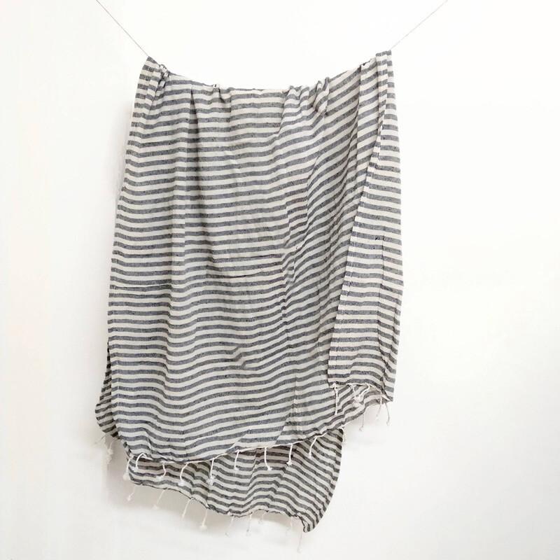 100% Cotton Towel - Grey Stripes