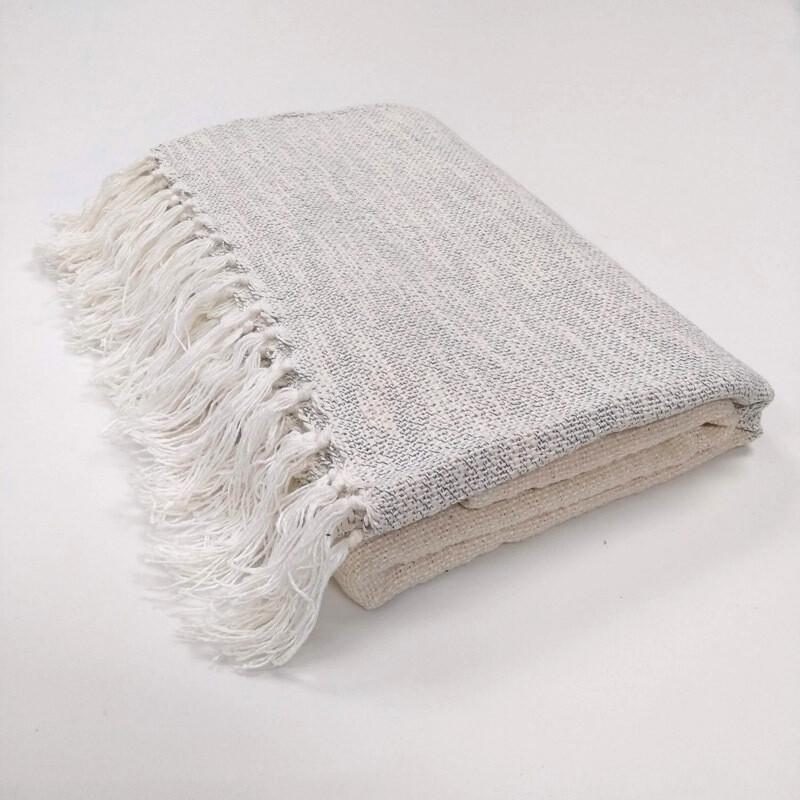 Cotton Throw - White/Blue