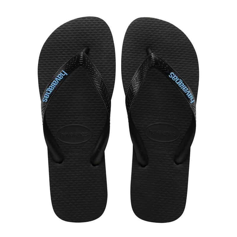 Logo Filete Flip Flops - Black/Light Blue
