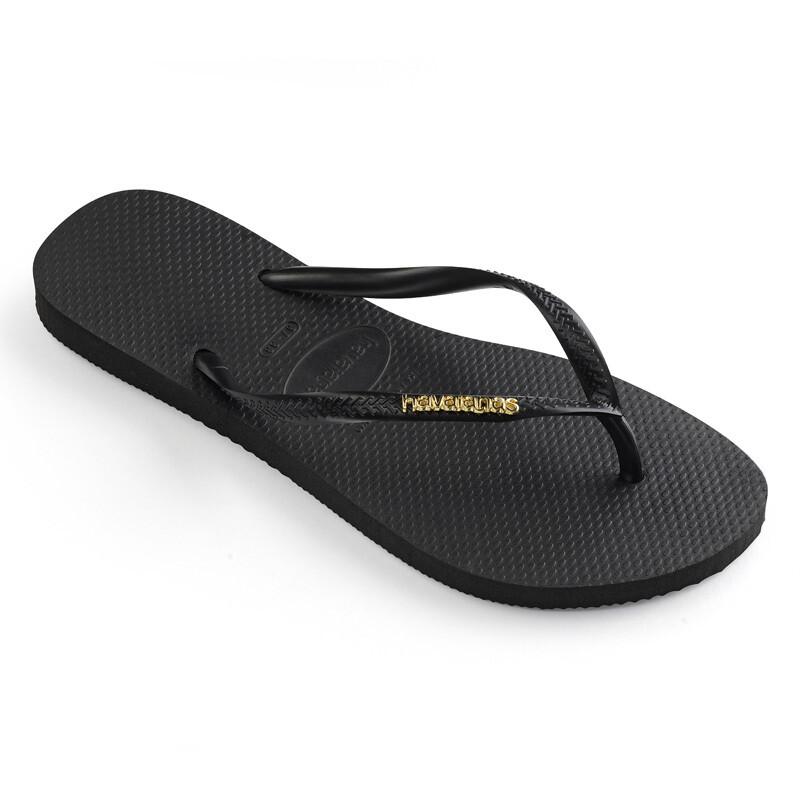 Slim Logo Metallic Flip Flops - Black/Gold