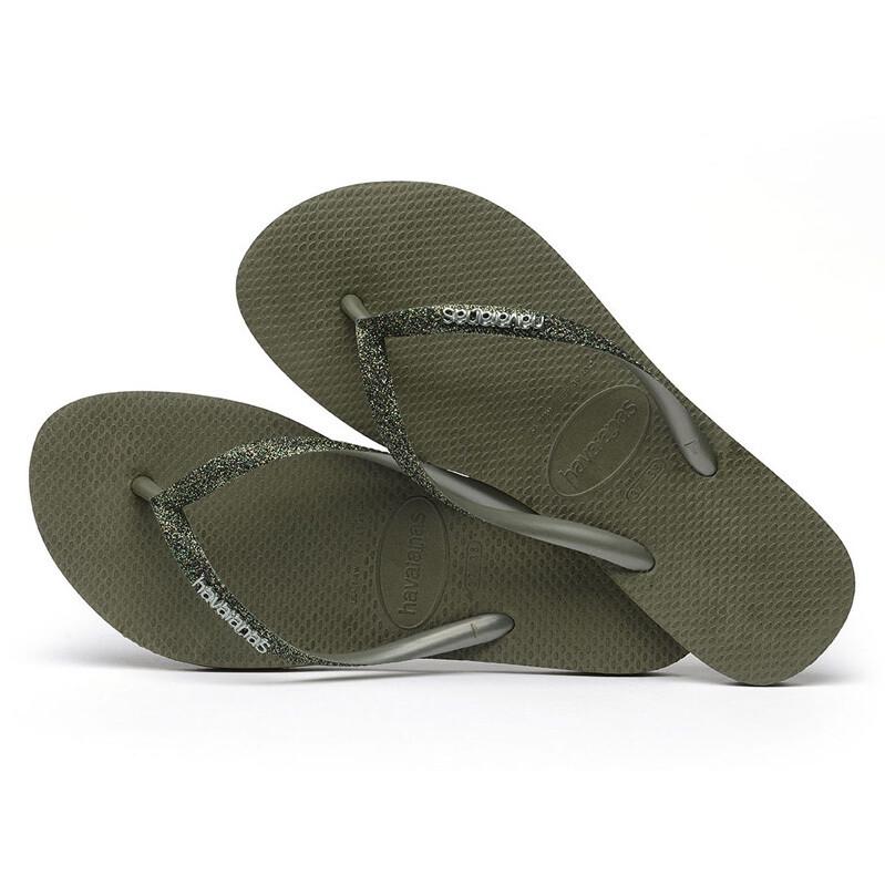 Slim Glitter Logo Metallic Flip Flops - Olive