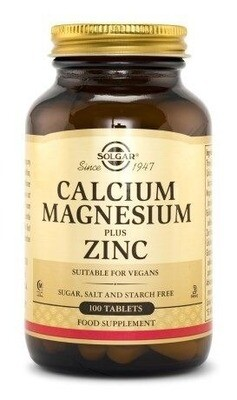 SOLGAR CALCIUM MAGNESIUM PLUS Y ZINC 100 TABLETAS